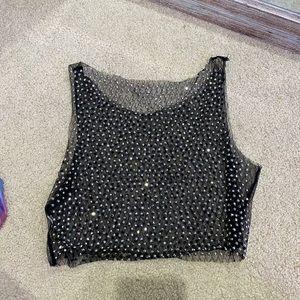 Sheer black sequin crop top